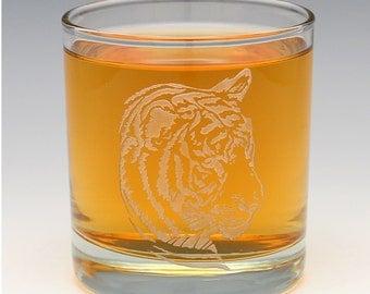 Engraved Tiger Whiskey OTR Glass.