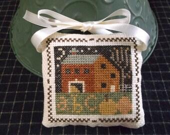 Finished Cross Stitch Ornament, Completed Stitch, Autumn abc Sampler Scene, Fall Autumn Decor, Prairie.Schooler
