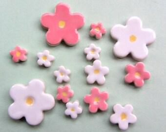 15 handmade pretty ceramic blossom flower mosaic tile shapes
