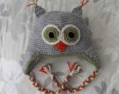 SALE Ready to Ship RTS Crocheted Owl Hat 12-24M Gray Orange Cream Green with Custom Gray Fleece Lining