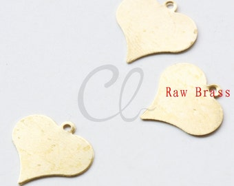 80pcs Raw Brass Heart Charm - 14.5x15mm (2025C-F-532)