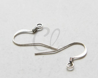 8 Pieces (4 Pairs) Oxidized Silver Plated Brass Base Earring Hooks Without Ball - 22x17mm (344C-I-404) W