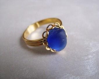Cobalt Blue Sea Glass - Beach Glass Ring - Sea Glass Ring - Beach Glass Jewelry
