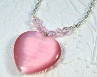 Pink Heart Pendant Necklace, Pink Heart Pendant on Silver chain, Valentins Day Necklace