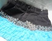50% OFF - DENIUM SKIRT Boho Altered Clothing Ruffles Embellished - Denium Skirt Reworked - Aqua