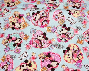 Disney licensed fabric Cartoon  Minnie Couture   Print Japanese fabric 50 cm by 106 cm or 19.6 by 42 inches Half meter  Printed in Japan