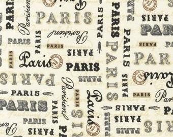 Nine (9) Yards -Paris Panache Words on Cream Robert Kaufman Fabrics APV-14486-84 Cream