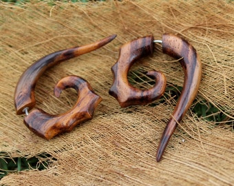 Fake gauge earrings, sono Wood ,Organic  Earrings ,Tribal style, Expander Split ,organic,naturally