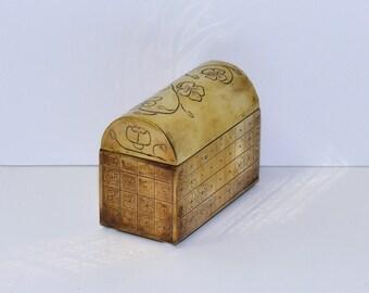 Vintage Heavy Solid Brass Keepsake Box  from Spain, Trevino MCMLXVIII, circa 1968