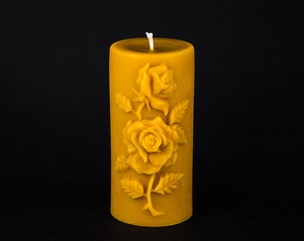 Pure Beeswax Pillar Candle - Rose Design - 3 in. x 6.5 in. tall - Medium
