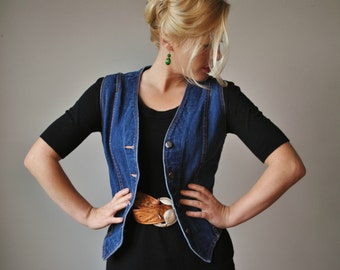 1970s HER Denim Vest~Size Extra Small to Small