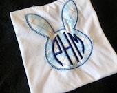 Argyle Easter Bunny Applique Bodysuit with Three initial monogram