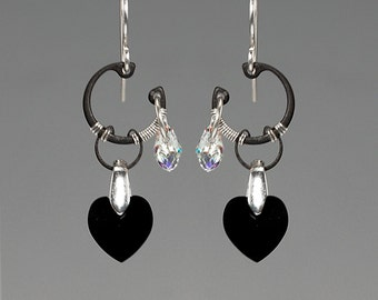 Earth II v11: Bold industrial wire wrapped earrings with crystal ab and jet Swarovski crystals