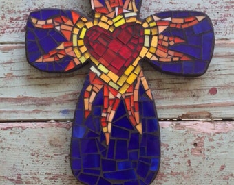Blue Mosaic Cross with Heart in Center and sunburst