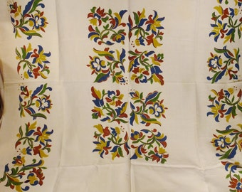 Vintage Eames era Linen TABLECLOTH  linen  printed MINT Mid Century Springflowers great condition 50 x 64  blue brown white