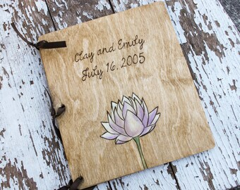 Custom Wedding Guest Book - Lotus Flower
