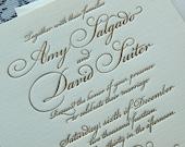 Letterpress Wedding Invitation Sample, Wedding invitation, Wedding invitations, Classic invitation, Traditional invitation, gold invitation