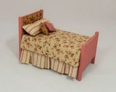 Dollhouse Miniature Single Bed Original Pattern with Padded Head and Footboard, Linens and Pillows