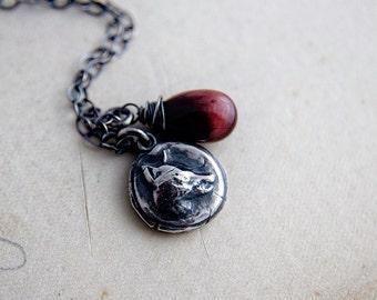 Fox Necklace, Fox Pendant, Tigers Eye, Gemstone Necklace, Woodland Necklace, Caramel Stone, Sterling Silver, Rust, Autumn, PoleStar