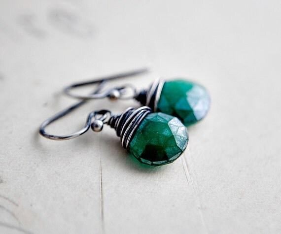 Kelly Green Earrings Emerald Chalcedony Dangle