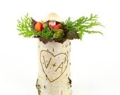 One large birch bark vase, personalize with free engraving, heart engraved vase
