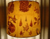 Lampshade drum/fabric/botanical graphics/1960/Toile/unique/French Provential