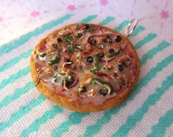 Veggie Lover's Pizza Pendant - Realistic Vegetable Polymer Clay PIzza Charm