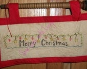 Merry Christmas Hanging Ornament, Door Hanger, Wall Hanging, Red, Holiday Decorations.