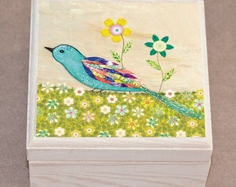 Blue Bird Jewelry Box, Bird Wooden Jewelry Box, Bird Trinket box