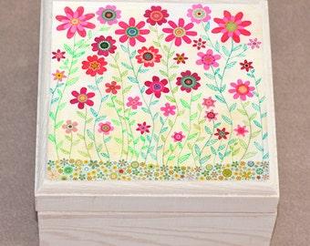 Retro Flower Jewelry Box, Red Floral Jewelry box