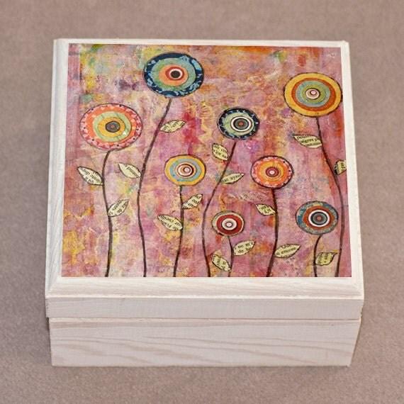 Flower Jewelry Box Wood Handmade Wooden Trinket Box