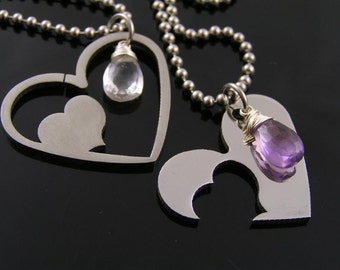 Matching Partner Necklaces, Matching Couple Necklace, Heart Necklaces with Amethyst and Rock Quartz, Girlfriend Necklaces, N1318
