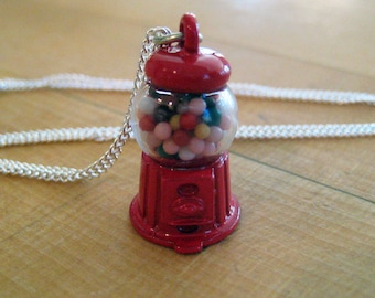 Gumball Machine Necklace - Food Jewelry - Food Necklace - Candy Necklace - Gumball jewelry