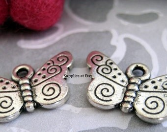 Special SALE Fancy silver Butterfly charms,connectors-Butterfly Link connector finding setting-diy earring components