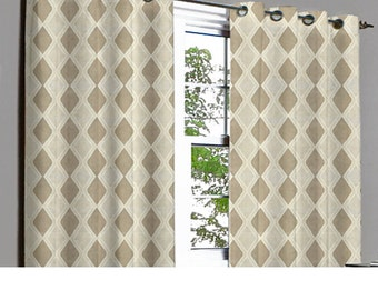 Brown Rhombus Grommet Lined Curtain in Textured Jacquard Weave Fabric Decor and Housewares Window Treatment Drapes Panels