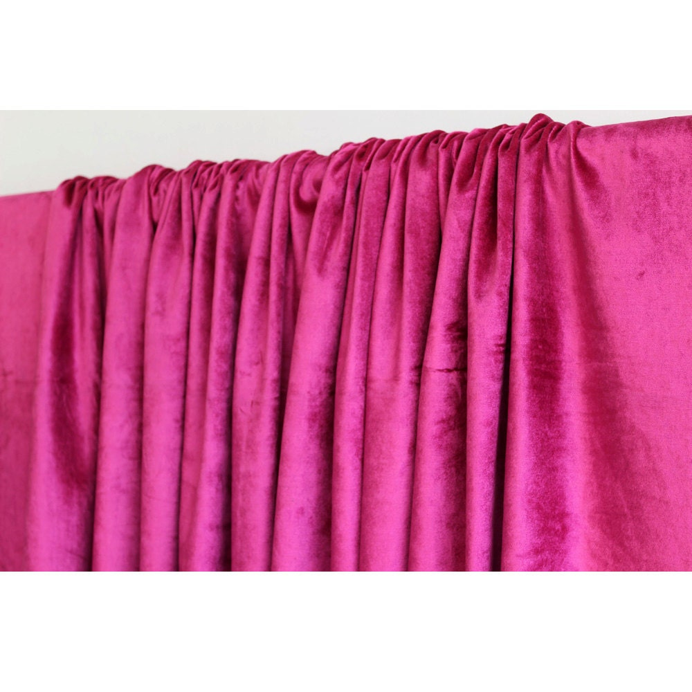 hot pink fuchsia velvet curtain 52x84 rod pocket