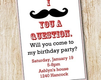 Mustache Party invitation- Boy's Birthday Invitation- Digial File, print yourself or printed invitations