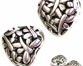 MERZIEs dragonflies antiqued silver plated insect 15mm Dragonfly on puffed Heart focal bead