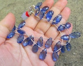Carved Scallop Edge Sapphire Blue Quartz Briolette Beads Perfect For Matched 1/2 Strand Pair Earrings Necklace