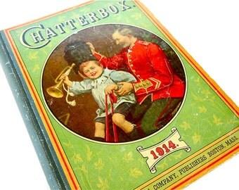 bedtime stories CHATTERBOX Dana Estes & Company vintage childrens book 1914 . antique book . kids stories