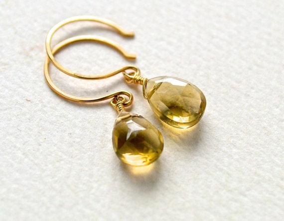 Deadwood Earrings - whiskey quartz earrings, whiskey quartz gemstone earrings, ale brown drop earrings, handmade jewelry, DE23