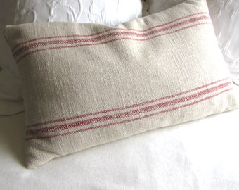FRENCH LAUNDRY 16x26 Pillow cover RED Stripes