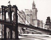 Art Pen and Ink  Sketch Drawing NYC Brooklyn Bridge Black and White Print