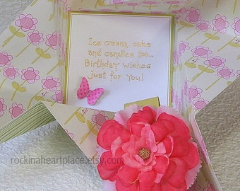 Pinwheel Birthday Card for little GIRL, in pink and green with pink  flower on band