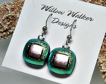 Light Green & Pink Dichroic Fused Glass Dangle Earrings