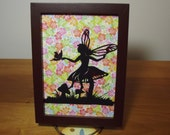 PC 106 Papercutting of little fairy sitting on a mushroom conversing with the little butterfly.