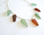 """Sea-Glass Necklace Multi piece fern and amber on 18"""" sterling silver chain"""