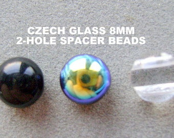 BEADS, SPACER, 2 HOLE, Czech, Glass, Necklace, 8mm, 24 Pieces, Connector, Seperator