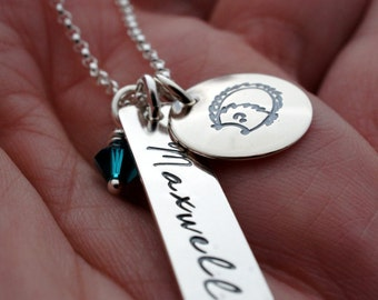 Fairytale Gift - Personalized Three Charm Necklace - Hand Stamped Sterling Silver w/ Child's Name and Birthstone Crystal