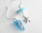 Turquoise Blue Ocean Earrings, Aqua Sea Glass Jewelry, Starfish & Seahorse, Asymmetric Earrings
